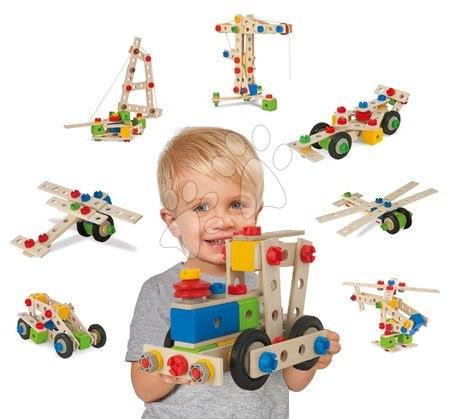 Eichhorn - Drevená sada Wooden Toy Assortment 3in1 Eichhorn vláčkodráha 20 dielov stavebnica 85 dielov a kocky 85 kusov od 1-3 rokov EH2055_1
