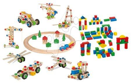 Eichhorn - Drevená sada Wooden Toy Assortment 3in1 Eichhorn vláčkodráha 20 dielov stavebnica 85 dielov a kocky 85 kusov od 1-3 rokov EH2055