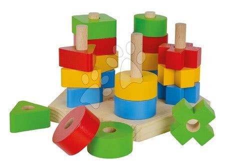 Dřevěná skládačka věž Stacking Toy Eichhorn s 5 různými barevnými tvary 21 dílů od 12 měsíců