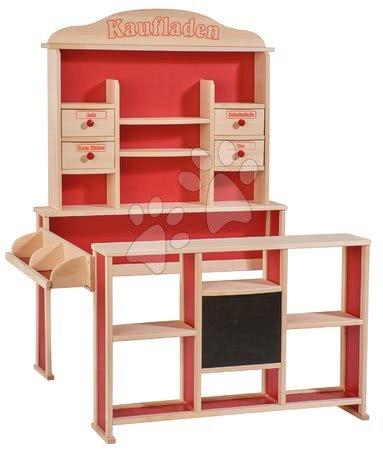 Dřevěný obchod s prodejním pultem Shop Eichhorn různé poličky a funkční 4 šuplíky 121 cm výška