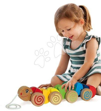 Ťahacie hračky - Drevená húsenica na ťahanie Pull along Animal Caterpillar Eichhorn od 12 mes_1