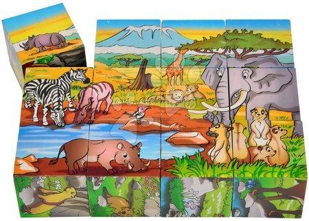 Pohádkové kostky - Dřevěné puzzle kostky Picture Cube Eichhorn 12 kostek se 6 motivy zvířátek