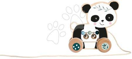 Ťahacie hračky - Drevené zvieratko na ťahanie Push along Animal Eichhorn so zvončekmi panda opička od 12 mes_1
