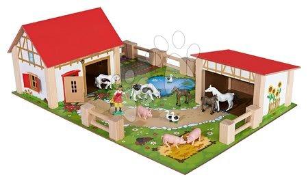Fa gyerekjátékok - Farm fából állatokkal nagy Farmyard Eichhorn két épülettel és udvarral 21-részes