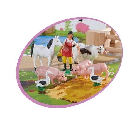 Fa gyerekjátékok - Farm fából állatokkal nagy Farmyard Eichhorn két épülettel és udvarral 21-részes_1