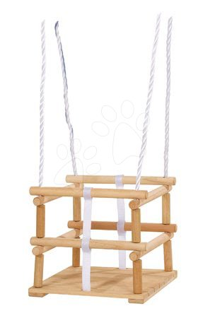 Gyerekhinták - Fa hinta Wooden Baby Swing Outdoor Eichhorn natúr 140-210 cm hosszú 30*30 cm ülőke 20 kg teherhirás 12 hó-tól