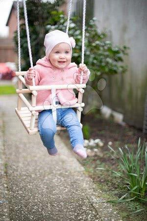 Gyerekhinták - Fa hinta Wooden Baby Swing Outdoor Eichhorn natúr 140-210 cm hosszú 30*30 cm ülőke 20 kg teherhirás 12 hó-tól_1