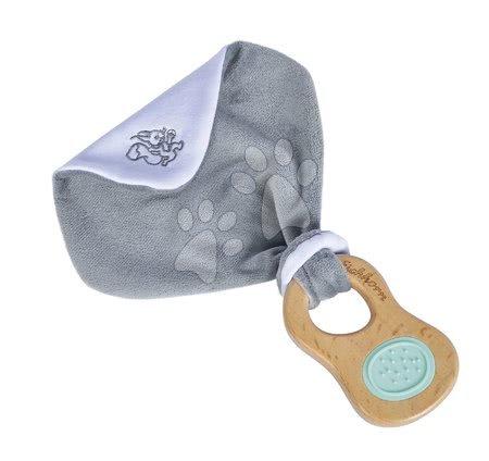 Chrastítka a kousátka - Dřevěné chrastítko s držadlem Bio 100% Natur Baby Pure Grasping Toy with Doudou Eichhorn s látkou na mazlení a zrcátkem od 3 měsíců