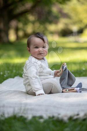Chrastítka a kousátka - Dřevěné chrastítko s držadlem Bio 100% Natur Baby Pure Grasping Toy with Doudou Eichhorn s látkou na mazlení a zrcátkem od 3 měsíců_1