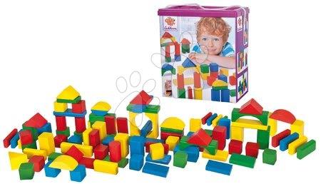 Dřevěné stavebnice - Dřevěné kostky barevné Coloured Wooden Blocks Eichhorn různé tvary 100 kusů velikost 25 mm od 12 měsíců