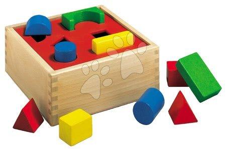 Dřevěná vkládačka Posting Box Eichhorn s 10 kostkami různých tvarů a barev 12 dílů od 12 měsíců