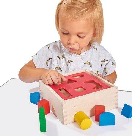 Dřevěné stavebnice - Dřevěná vkládačka Posting Box Eichhorn s 10 kostkami různých tvarů a barev 12 dílů od 12 měsíců_1
