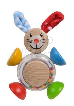 Chrastítka a kousátka - Dřevěné chrastítko Rabbit 2in1 Baby Eichhorn zajíček s kuličkami v bříšku od 3 měsíců