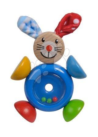 Chrastítka a kousátka - Dřevěné chrastítko Rabbit 2in1 Baby Eichhorn zajíček s kuličkami v bříšku od 3 měsíců_1