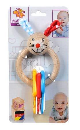 Chrastítka a kousátka - Dřevěné chrastítko s kousátkem Baby Eichhorn zajíček s klíči na kroužku od 3 měsíců_1
