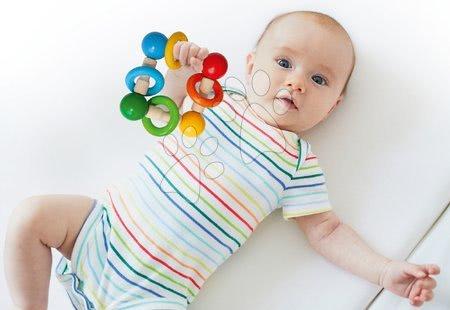 Chrastítka a kousátka - Dřevěné chrastítko Baby Eichhorn s kuličkami a kroužky od 3 měsíců_1