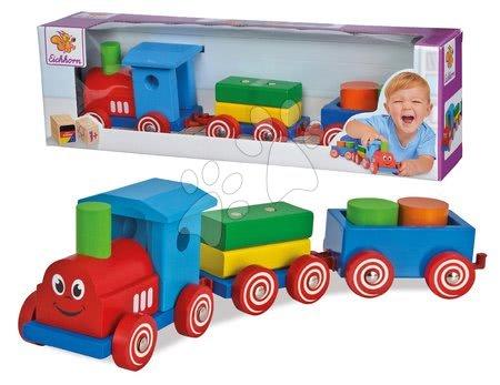 Dřevěné stavebnice - Dřevěný vláček s kostkami Coloured Train Eichhorn lokomotiva s 2 vagony 7 dílů od 12 měsíců_1