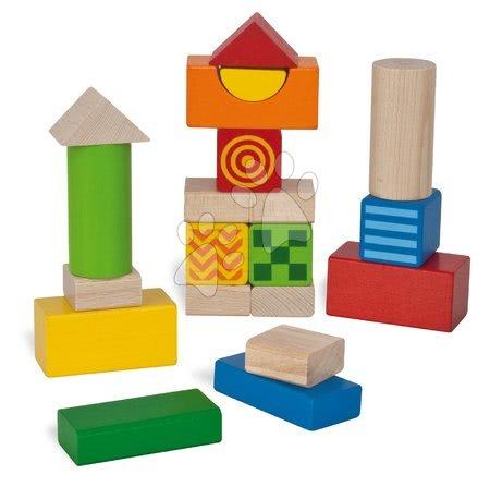 Dřevěné stavebnice - Dřevěné kostky Feel and Sound Blocks Eichhorn vzorované 20 kusů 4 kostky s texturou a 2 zvukové velikost 40 mm od 12 měsíců