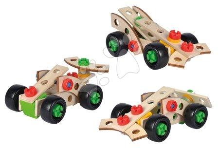 Dřevěné stavebnice - Dřevěná stavebnice tři závodní auta Constructor Racer Eichhorn Formule 1 a 2 vozidla 35 dílů