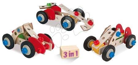 Dřevěné stavebnice - Dřevěná stavebnice závody Constructor Racer Eichhorn tři modely (minibuggy, formule 1, závodní auto) 50 dílů