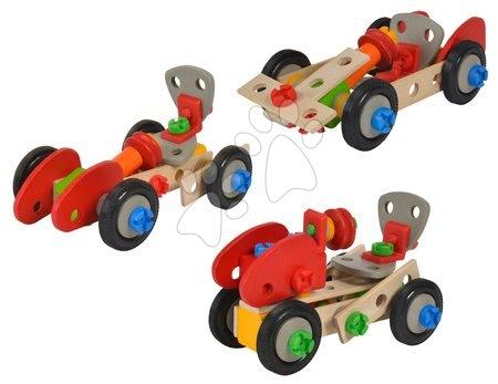 Dřevěné stavebnice - Dřevěná stavebnice auta Constructor Pedal Car Eichhorn tři modely (traktor, auto a závodní auto) 65 dílů
