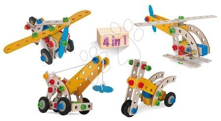 Dřevěné stavebnice - Dřevěná stavebnice jeřáb Constructor Mobile Crane Eichhorn čtyři modely (jeřáb, letadlo, helikoptéra, kolo) 70 dílov
