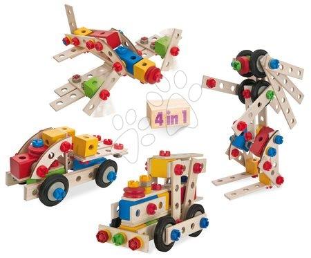 Dřevěné stavebnice - Dřevěná stavebnice lokomotiva Constructor Big Loc Eichhorn čtyři modely (lokomotiva, letadlo, kamion, robot) 100 dílů od 4 let