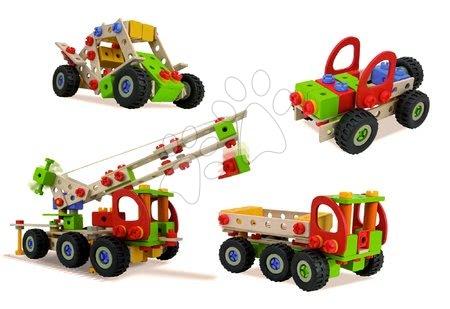 Jucării din lemn  - Joc de construit macara mobilă din lemn Constructor Mobile Crane Eichhorn patru modele (macara, buggy, jeep, camion) 190 piese de la 6 ani