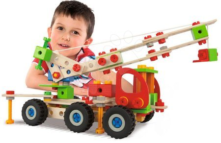 Jucării din lemn  - Joc de construit macara mobilă din lemn Constructor Mobile Crane Eichhorn patru modele (macara, buggy, jeep, camion) 190 piese de la 6 ani_1