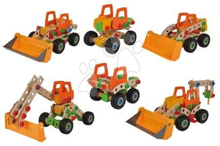 Eichhorn - Drvene kocke utovarivač Constructor Wheel Loader Eichhorn šest modela (utovarivač, dizalica, pokretna dizalica, kamion, unimog, bigfoot) 140 dijelova od 5 godina
