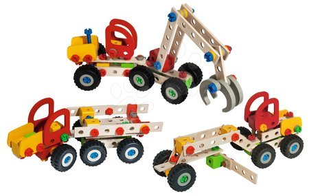 Fa gyerekjátékok - Fa építőjáték kombájn Constructor Mobile Harvester Eichhorn 3 modell (kombajn, munkagép, teherautó) 140 darabos 5 évtől