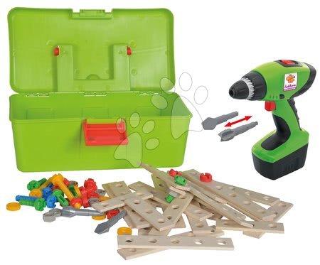 Dřevěné stavebnice - Dřevěná stavebnice s vrtačkou Constructor Tool Box Eichhorn v kufříku 63 dílů
