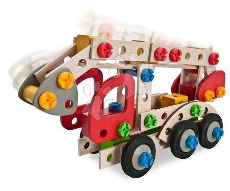 Fa gyerekjátékok - Fa építőjáték tűzoltókocsi Constructor Fire Truck Eichhorn 3 modell (tűzoltó, mentőautó, rendőrautó) 155 darabos 5 évtől_1