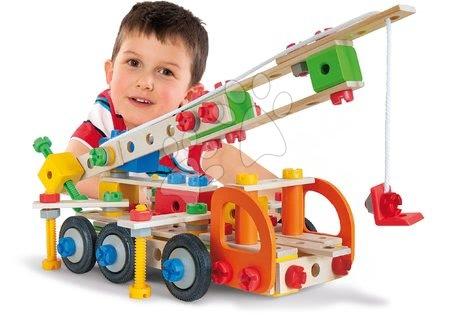 Fa gyerekjátékok - Fa építőjáték munkagépek Constructor Tool Box Eichhorn mobil daru, terepjáró, teherautó és szolgálati autó 170 részes_1