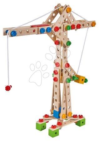 Dřevěné stavebnice - Dřevěná stavebnice jeřáb Constructor Crane Eichhorn 5 modelů (jeřáb, loď, hydroplán, formule, mobilní jeřáb) 170 dílů od 6 let