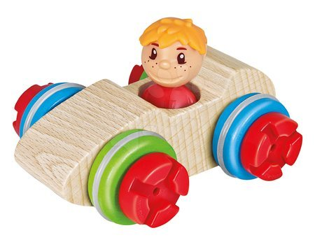 Dřevěné stavebnice - Dřevěná stavebnice závodní auto Constructor Maxi Racer Eichhorn s velkými 10 díly pro nejmenší od 24 měsíců