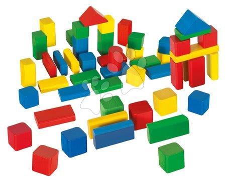 Dřevěné stavebnice - Dřevěné kostky Coloured Wooden Blocks Eichhorn barevné 50 kusů v různých tvarech velikost 25 mm od 12 měsíců