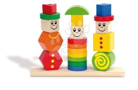 Dřevěná skládačka figurky Stacking Puzzle Figures Eichhorn barevné a vzorované tvary 21 dílů od 12 měsíců