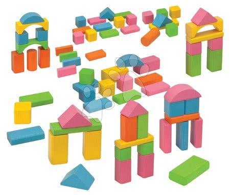 Dřevěné stavebnice - Dřevěné kostky Coloured Wooden Blocks Eichhorn barevné 75 kusů různé tvary velikost 25 mm od 12 měsíců