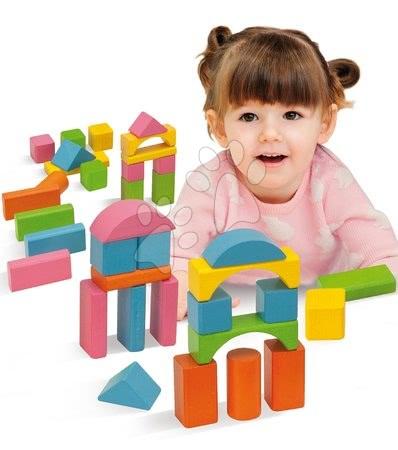 Dřevěné stavebnice - Dřevěné kostky Coloured Wooden Blocks Eichhorn barevné 75 kusů různé tvary velikost 25 mm od 12 měsíců_1