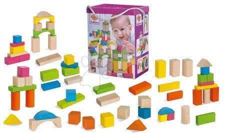 Dřevěné stavebnice - Dřevěné kostky Nature and Coloured Wooden Blocks Eichhorn mix barevné a natural 60 kusů velikost 25 mm od 12 měs