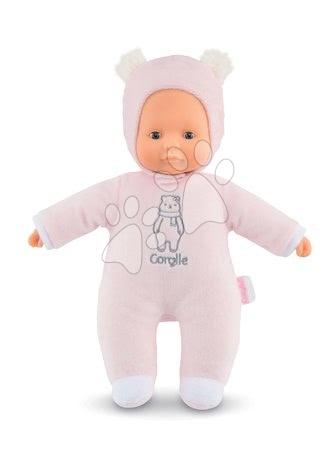 Panenky od 9 měsíců - Panenka medvídek Sweet Heart Pink Bear Corolle s modrýma očima a snímatelnou kapucí s oušky 30 cm růžová od 9 měs
