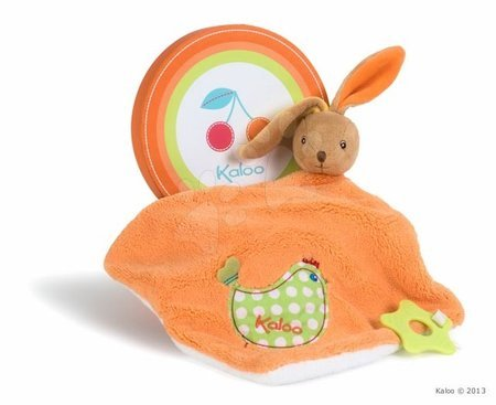 Plyšový králíček na mazlení Colors-Doudou Rabbit Chick Kaloo s kousátkem 24 cm v dárkovém balení pro nejmenší