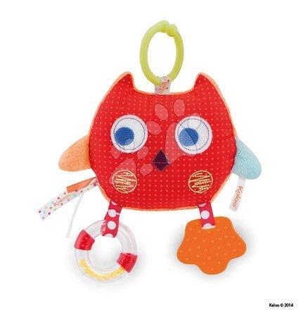 Textilní sovička Colors-My Comforting Owl Kaloo s chrastítkem a kousátkem 25 cm pro nejmenší