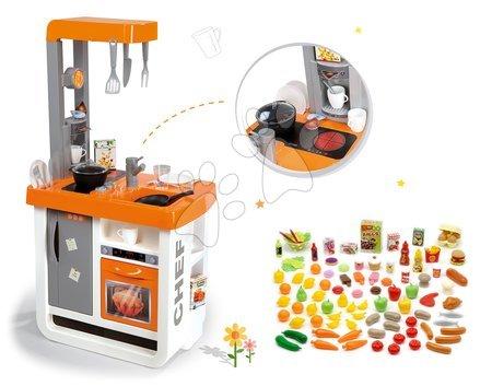 Obyčejné kuchyňky - Set kuchyňka Bon Appétit Chef Smoby s lednicí a kávovarem a sada potravin 100 kusů