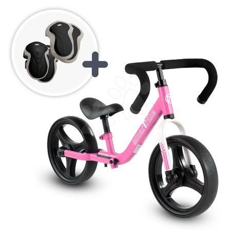 Bicicletă pliabilă fără pedale Folding Balance Bike Pink smarTrike roz din aluminiu cu mânere ergonomice de la 2-5 ani și echipament de protecție cadou
