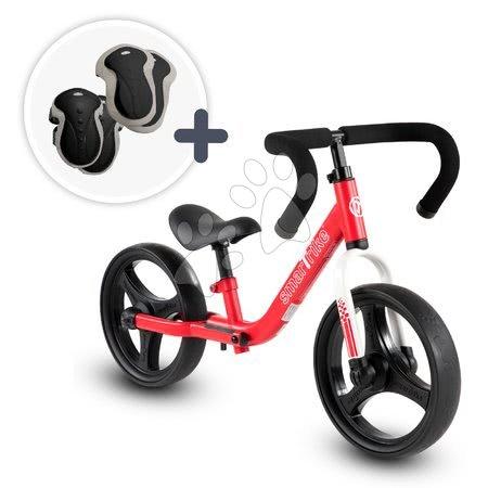Bicicletă pliabilă fără pedale Folding Balance Bike Red smarTrike roșie din aluminiu cu mânere ergonomice de la 2-5 ani și echipament de protecție cadou