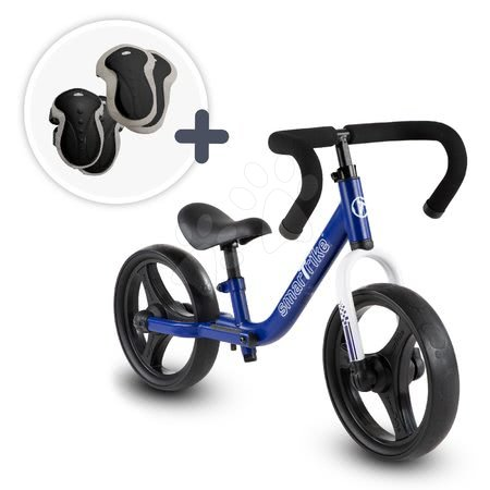 Bicicletă pliabilă fără pedale Folding Balance Bike Blue smarTrike albastră din aluminiu cu mânere ergonomice de la 2-5 ani și echipament de protecție cadou