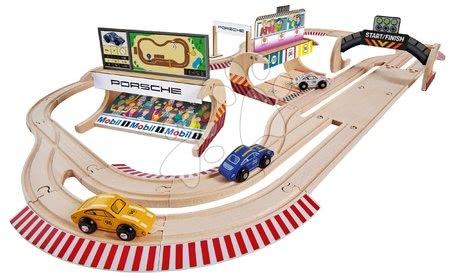 Eichhorn - Drvena autostaza Porsche Racing Set Big Eichhorn s dvostrukom stazom i pit stopom s 3 trkača automobila 600 cm dužine 53 dijelova