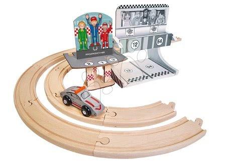 Pistă de mașini din lemn Porsche Racing Extension Set Eichhorn cu mașină de curse 14 piese de la 3 ani EH9475860